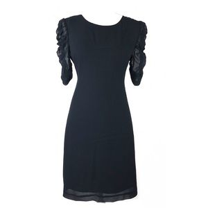 Theory dress black silk ruffle sleeves elegant 8